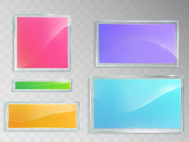 Conjunto de ilustraciones vectoriales de banners de vidrio aislado en fondo gris.