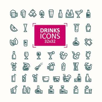Conjunto de ilustraciones vectoriales de iconos de bebidas.