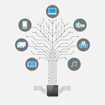 Conjunto de infografía social media en forma de tecnología de árbol