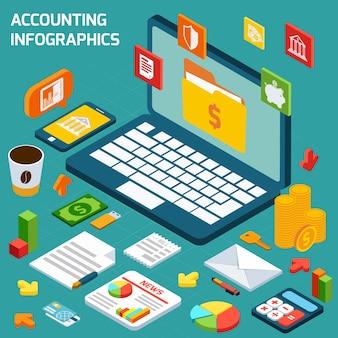 Conjunto de infografías de contabilidad