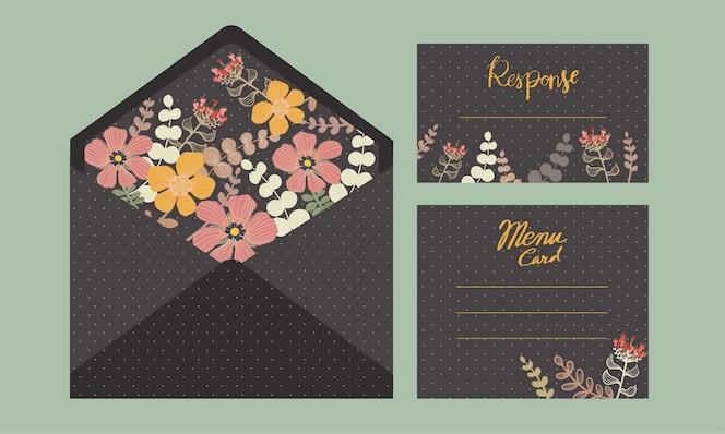 Conjunto de invitación de boda con flores, plantillas decorativas.