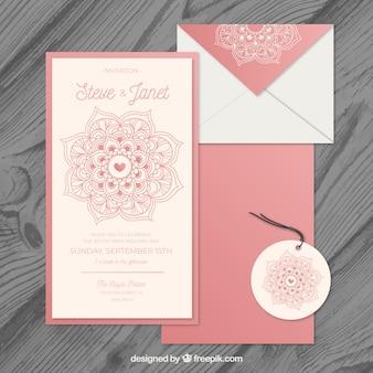 Conjunto de invitación de boda en estilo de mandala