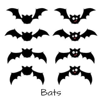 Conjunto de lindos murciélagos de halloween.