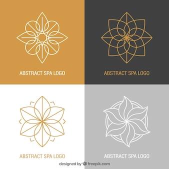 Conjunto de logos de centros de spa en estilo plano
