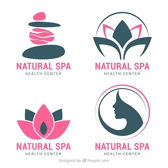 Conjunto de logos de spa en estilo plano