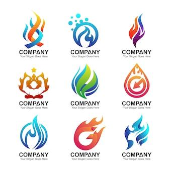 Conjunto de logotipo de fuego, colección de logotipo de fuego