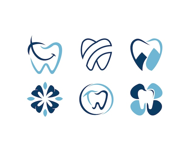 Conjunto de logotipo de star dental diseña concepto