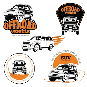 Conjunto de logotipos o etiquetas de vehículos todo terreno