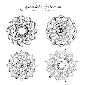Conjunto de mandala de diseño decorativo y ornamental para colorear página, tarjeta de felicitación, invitación, tatuaje, yoga y spa símbolo