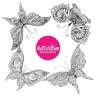 Conjunto de mariposas decorativas