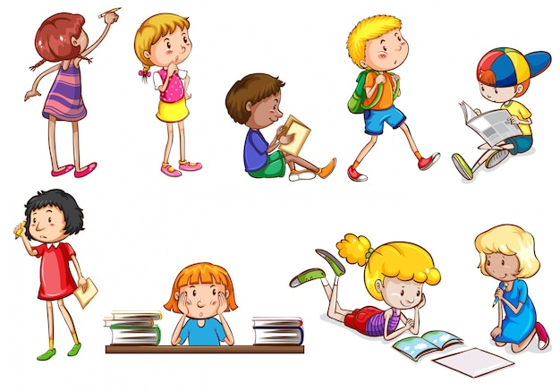 Conjunto de niños que realizan actividades escolares