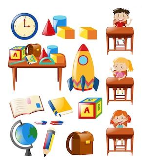 Conjunto de objetos escolares y estudiantes