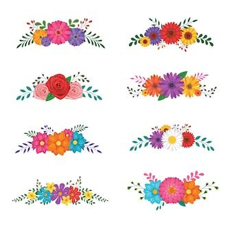 Conjunto de ornamentos florales aislado sobre fondo blanco