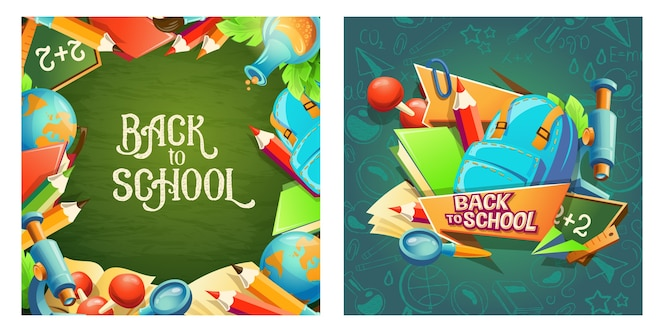 Conjunto de pancartas de dibujos animados con accesorios escolares e inscripción regreso a la escuela.