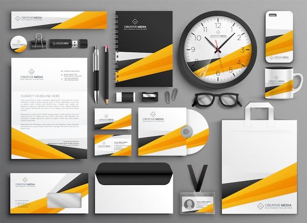 Conjunto de papelería de negocios amarillos abstractos