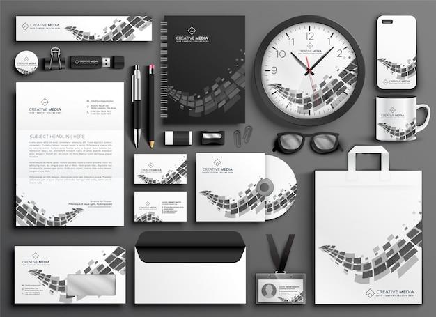 Conjunto de papelería de negocios blanco y negro abstracto