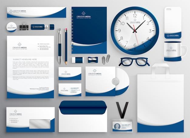 Conjunto de papelería de negocios profesional azul moderno