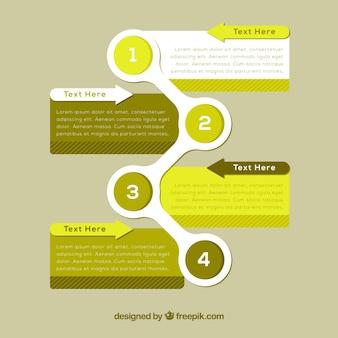 Conjunto de pasos de infografía con colores