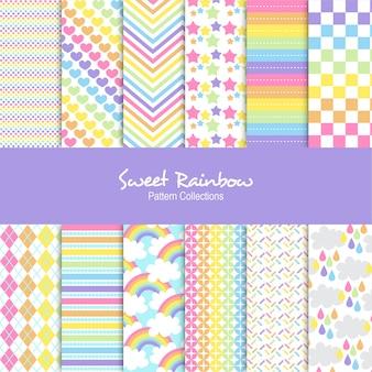 Conjunto de patrones de arco iris dulce