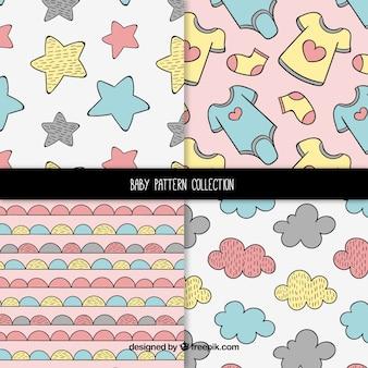 Conjunto de patrones de bebé con lindos elementos