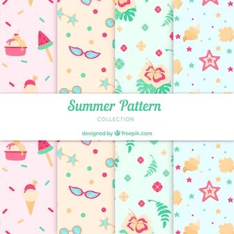 Conjunto de patrones de verano con elementos de playa