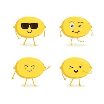 Conjunto de personaje de fruta de limón en emoción de acción diferente