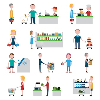 Conjunto de personas de supermercado