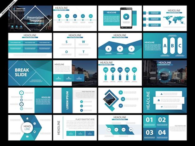 Conjunto de plantillas de diapositivas de presentación de 20 paquetes