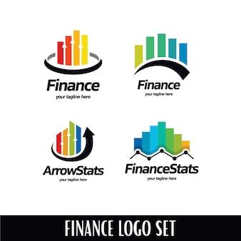 Conjunto de plantillas de logotipo de estadísticas financieras