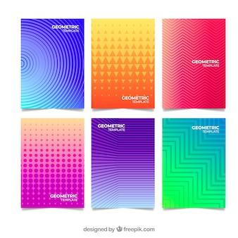 Conjunto de plantillas de portada con diseño geométrico
