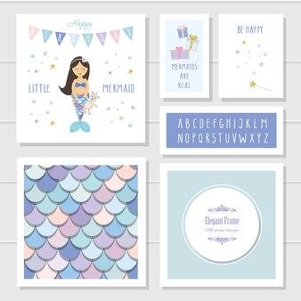 Conjunto de plantillas de tarjeta de cumpleaños de sirena
