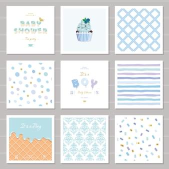 Conjunto de plantillas y patrones de baby shower de niño