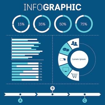 Conjunto de presentación de elementos de infografía empresarial.