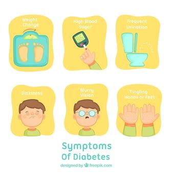 Conjunto de síntomas de diabetes dibujado a mano