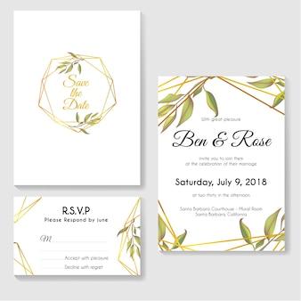 Conjunto de tarjeta de invitación de boda con hojas modernas y línea de oro