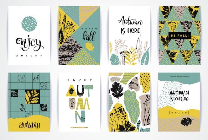 Conjunto de tarjetas de otoño creativas artísticas.