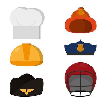 Conjunto de trabajos vestir silueta de iconos de sombrero