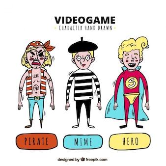 Conjunto de tres personajes dibujados a mano