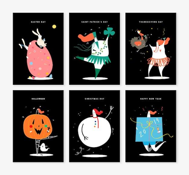 Conjunto de varios personajes de vacaciones ilustración