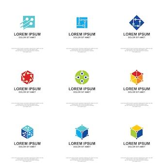 Conjunto de vectores abstractos de logotipo de tecnología
