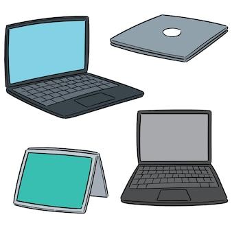 Conjunto de vectores de computadora portátil