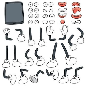 Conjunto de vectores de teléfono inteligente, brazo de dibujos animados, pierna, boca y ojos
