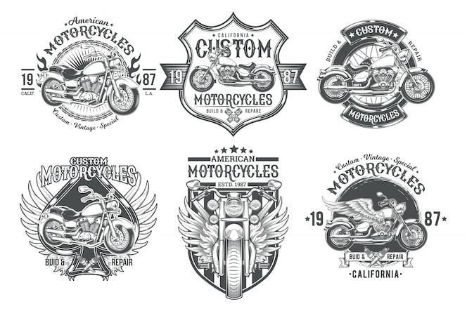 Conjunto de vectores negro vintage insignias, emblemas con una motocicleta personalizada