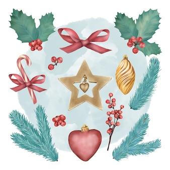 Conjunto de decoración de árbol de navidad con juguetes