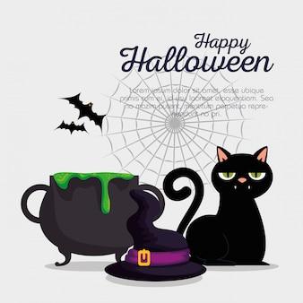 Conjunto de decoración feliz halloween