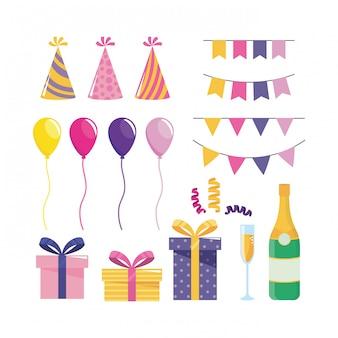 Conjunto de decoración de fiesta con globos y regalos.