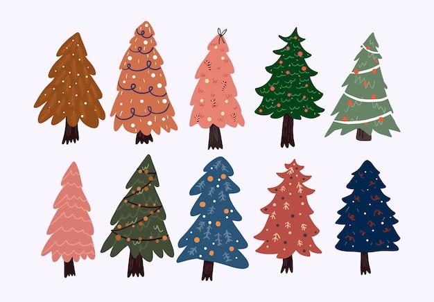 Conjunto de decoración interior de elementos de dibujos animados lindo de navidad