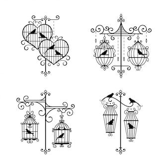 Conjunto de decoración de jaula de boda dibujada a mano