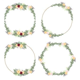 Conjunto de decoración de marco de círculo de flor y hoja rústica