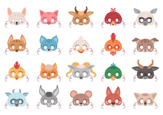 Conjunto de decoración de mascarada de máscaras de animales para un disfraz.